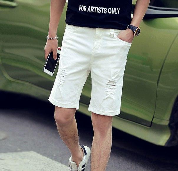 cae563de7fa Мужские белые рваные шорты купить недорого в интернет-магазине MOD