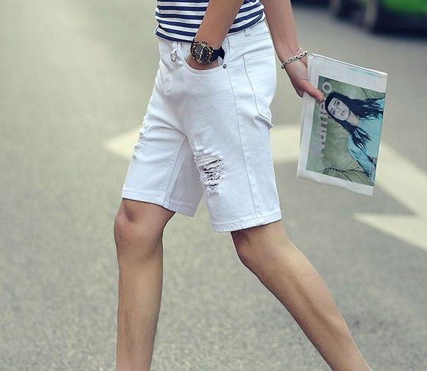 7f92c1959c6f Мужские белые рваные шорты