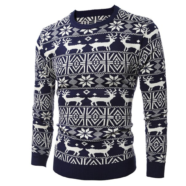 a26e72248e985 Новогодний мужской свитер с множеством оленей купить недорого в ...