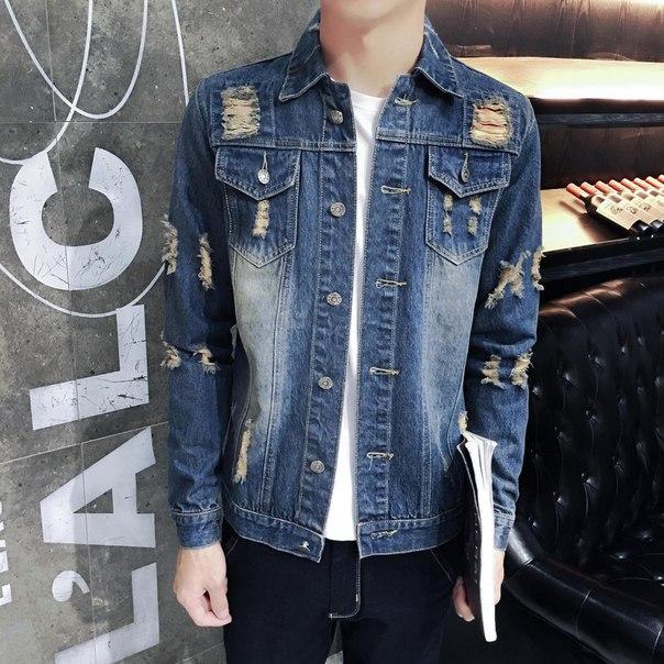 9edf6b39ce03 Мужская рваная джинсовая куртка