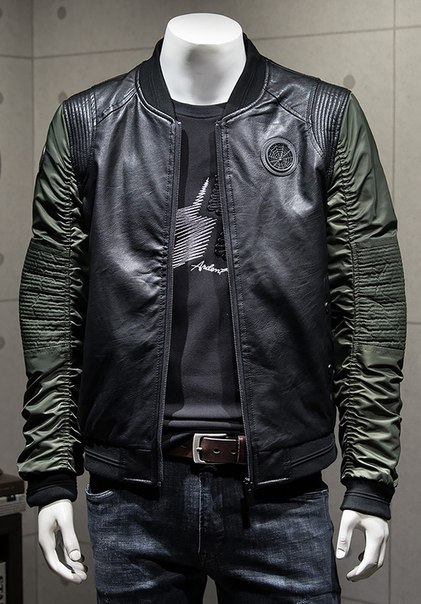 9b4c7e47d32 Мужская кожаная куртка с хлопковыми рукавами купить недорого в ...