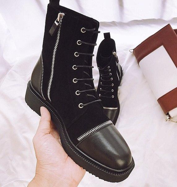 Женские высокие ботинки с кожаными вставками купить недорого в ... 5cc768602da
