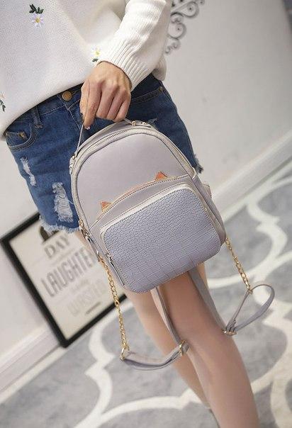 f3df61047a3d Женский маленький кожаный рюкзак с глазками купить недорого в ...